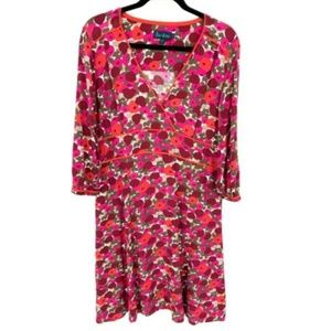 Boden Vintage 3/4 Sleeve Floral V Neck Tea Dress